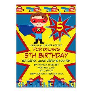 Superhero scherzt Jungen-Geburtstags-Party 12,7 X 17,8 Cm Einladungskarte