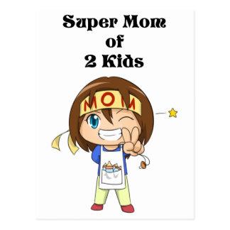 Supermamma von 2 Kindern Postkarten