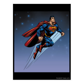 Supermann gegen den nächtlichen Himmel Postkarte
