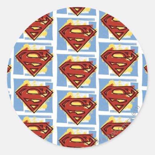 Supermann-rotes und blaues Muster Runder Aufkleber