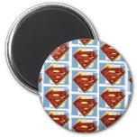 Supermann-rotes und blaues Muster Runder Magnet 5,1 Cm