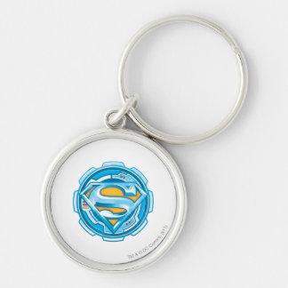 Supermann S-Schild | Gang-Logo Silberfarbener Runder Schlüsselanhänger