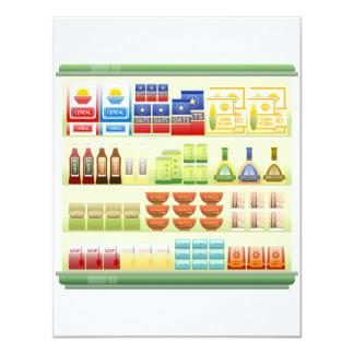 Supermarkt-Waren-Regal-Einladungen Karte