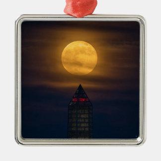Supermoon über Washington-Monument Silbernes Ornament