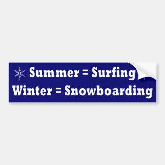 Surfenu. Snowboarding-Gleichungs-Autoaufkleber Autoaufkleber