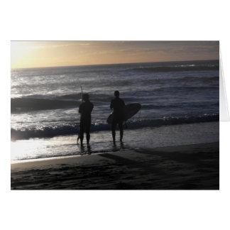 Surfer am Sonnenuntergang Karte