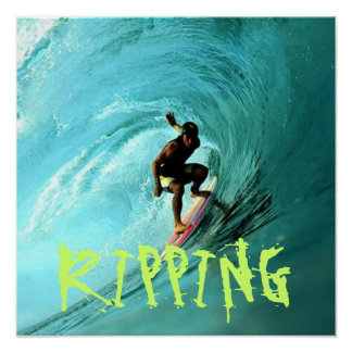 Surfer, der eine Welle reitet Poster