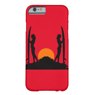Surfer-Mädchen-Sonnenuntergang-Silhouette Barely There iPhone 6 Hülle