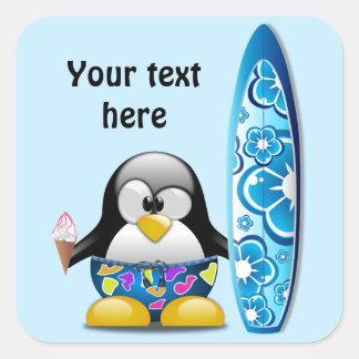 Surfer-Pinguin mit Eiscreme Quadratischer Aufkleber