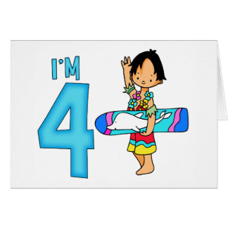 Surfer-Typ-4. Geburtstag Karte