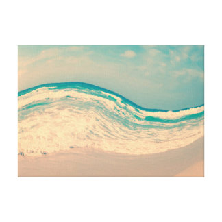 Surreal Vintage Strand-Welle in den Pastellfarben Leinwanddruck