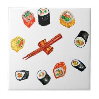Sushi-Set Watercolor2 Kleine Quadratische Fliese