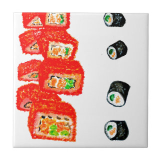 Sushi-Set Watercolor3 Kleine Quadratische Fliese