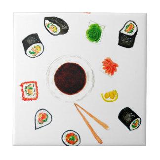 Sushi-SetWatercolor Kleine Quadratische Fliese