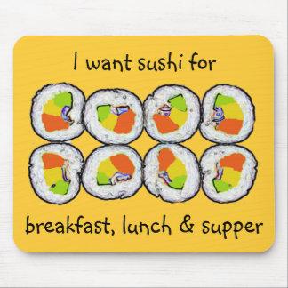 Sushi-Sushi-Frühstücks-Mittagessen und Abendessen Mousepads