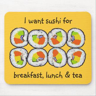 Sushi-Sushi-Frühstücks-Mittagessen und Tee Mousepad
