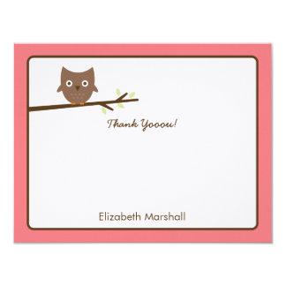 Süße Eule danken Ihnen zu kardieren (Rosa) 10,8 X 14 Cm Einladungskarte