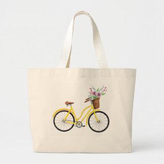 Süße gelbe Fahrrad-Tasche Jumbo Stoffbeutel