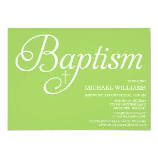 Süße grüne Skript-Taufe-Einladungen 12,7 X 17,8 Cm Einladungskarte