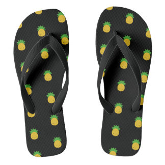 Süße kawaii Ananasschwarz-Flipflop-Sandalen Flip Flops