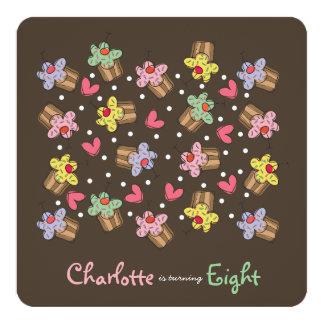 Süße Kirschkuchen-Kindergeburtstag-Einladung Karte
