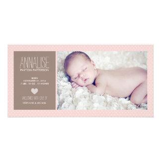 Süße Moment-Foto-Baby-Mädchen-Geburts-Mitteilung Individuelle Foto Karte