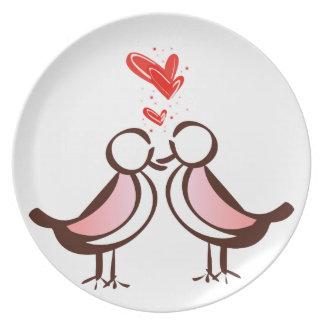 süße niedliche Lovebirds Melaminteller