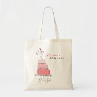 Süße rosa Hochzeits-Kuchen-bräutliche Tragetasche
