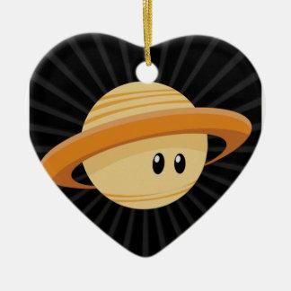 Süsse Saturn Keramik Herz-Ornament