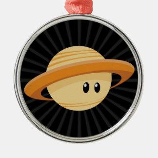 Süsse Saturn Rundes Silberfarbenes Ornament