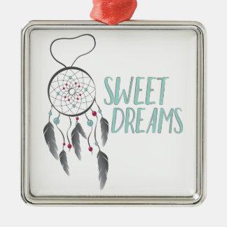 Süße Träume Quadratisches Silberfarbenes Ornament