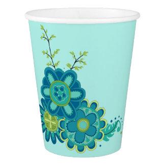 Süße u. hübsche aquamarine Blumen Pappbecher