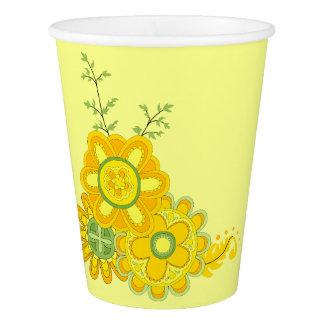 Süße u. hübsche gelbe Blumen Pappbecher