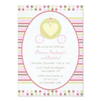 Süße Wagenprinzessin-Party-Geburtstagseinladung 12,7 X 17,8 Cm Einladungskarte