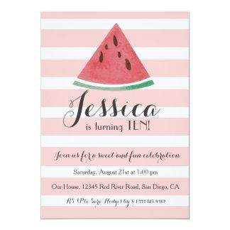 Süße Wassermelone-Geburtstags-Einladung für 12,7 X 17,8 Cm Einladungskarte
