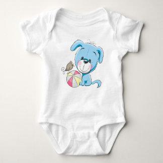 Süßer blauer Welpen-Baby-Jersey-Bodysuit Baby Strampler