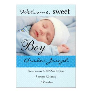 Süßer Jungen-neugeborene Baby-Geburts-Mitteilung Karte