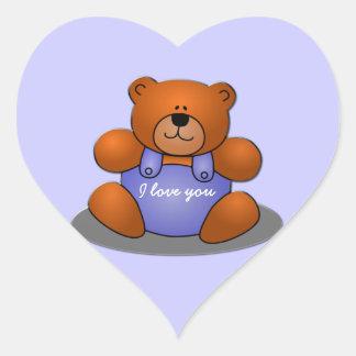 süßer Teddybär Herz-Aufkleber
