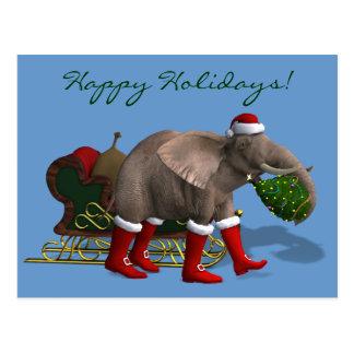 Süßer Weihnachtsmann-Elefant Postkarte