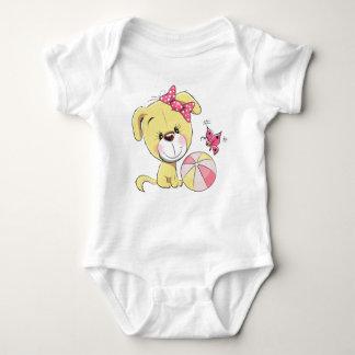 Süßer Welpen-Baby-Jersey-Bodysuit Baby Strampler