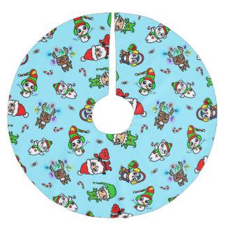 Süßes Kawaii Weihnachtscharaktermuster Polyester Weihnachtsbaumdecke