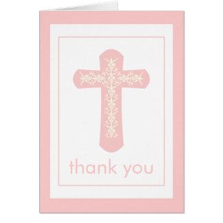 Süßes rosa Kreuz danken Ihnen zu kardieren Mitteilungskarte
