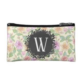 Süßes Weiche farbige Frühlings-Blumen mit Kosmetiktasche