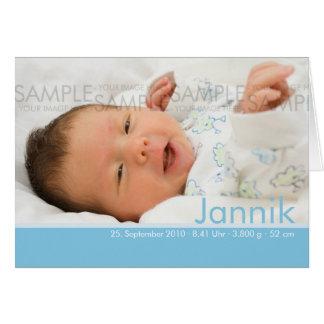 Süßigkeit färbt Blau Geburtskarte - Baby-Mitteilun Karten