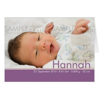 Süßigkeit färbt Lila Geburtskarte - Baby-Mitteilun Grußkarte