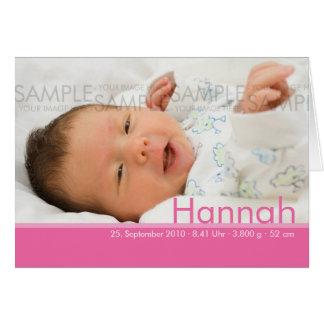 Süßigkeit färbt rosa Geburtskarte - Baby-Mitteilun Grußkarten