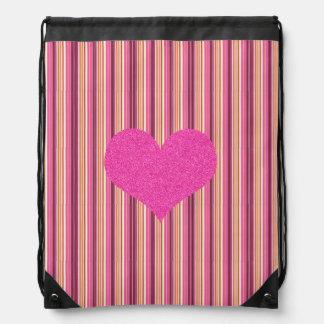 Süßigkeit-gestreifter, rosa Glitzer-Herz-Rucksack Sportbeutel