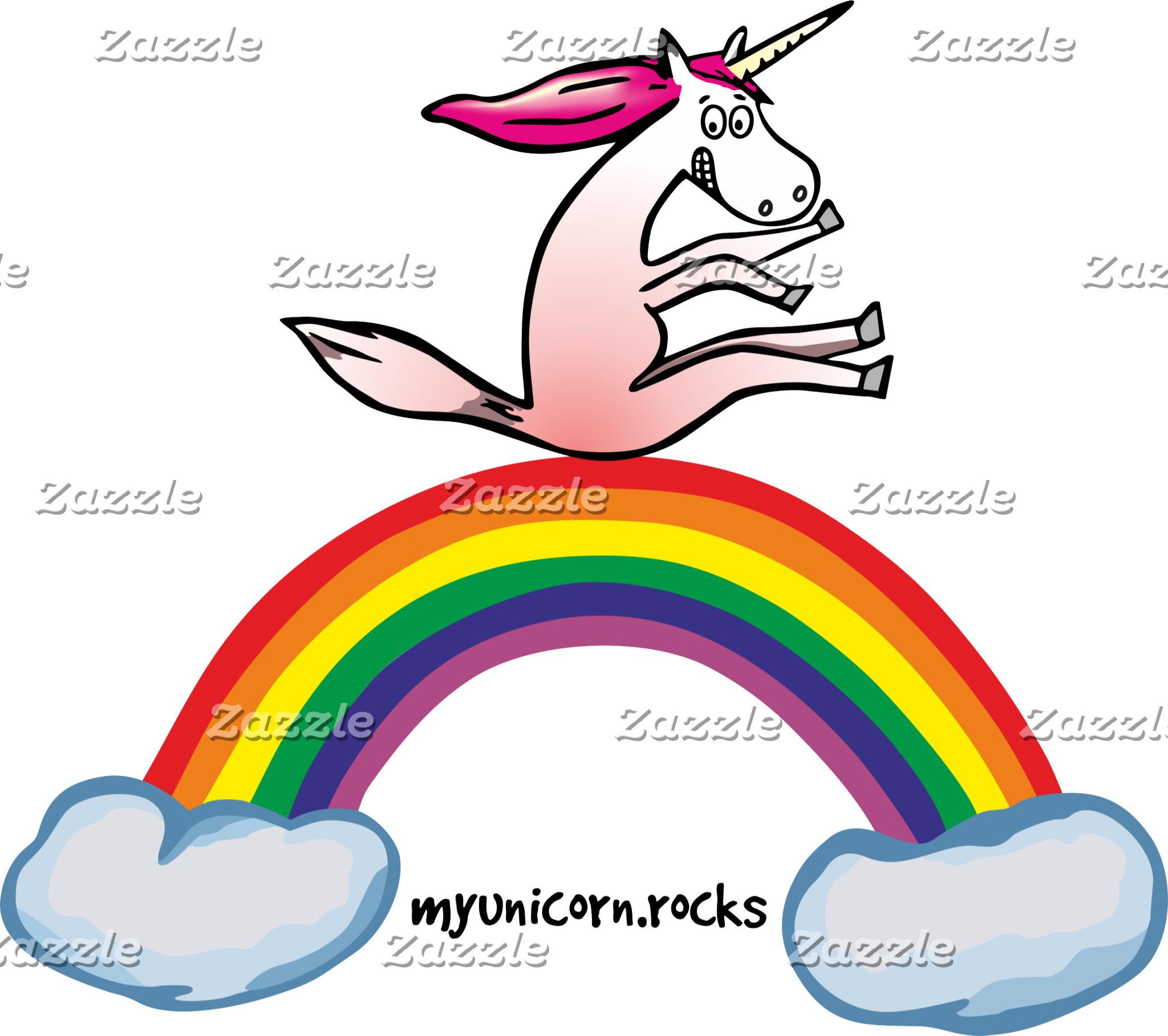 Crazy Unicorn on rainbow
