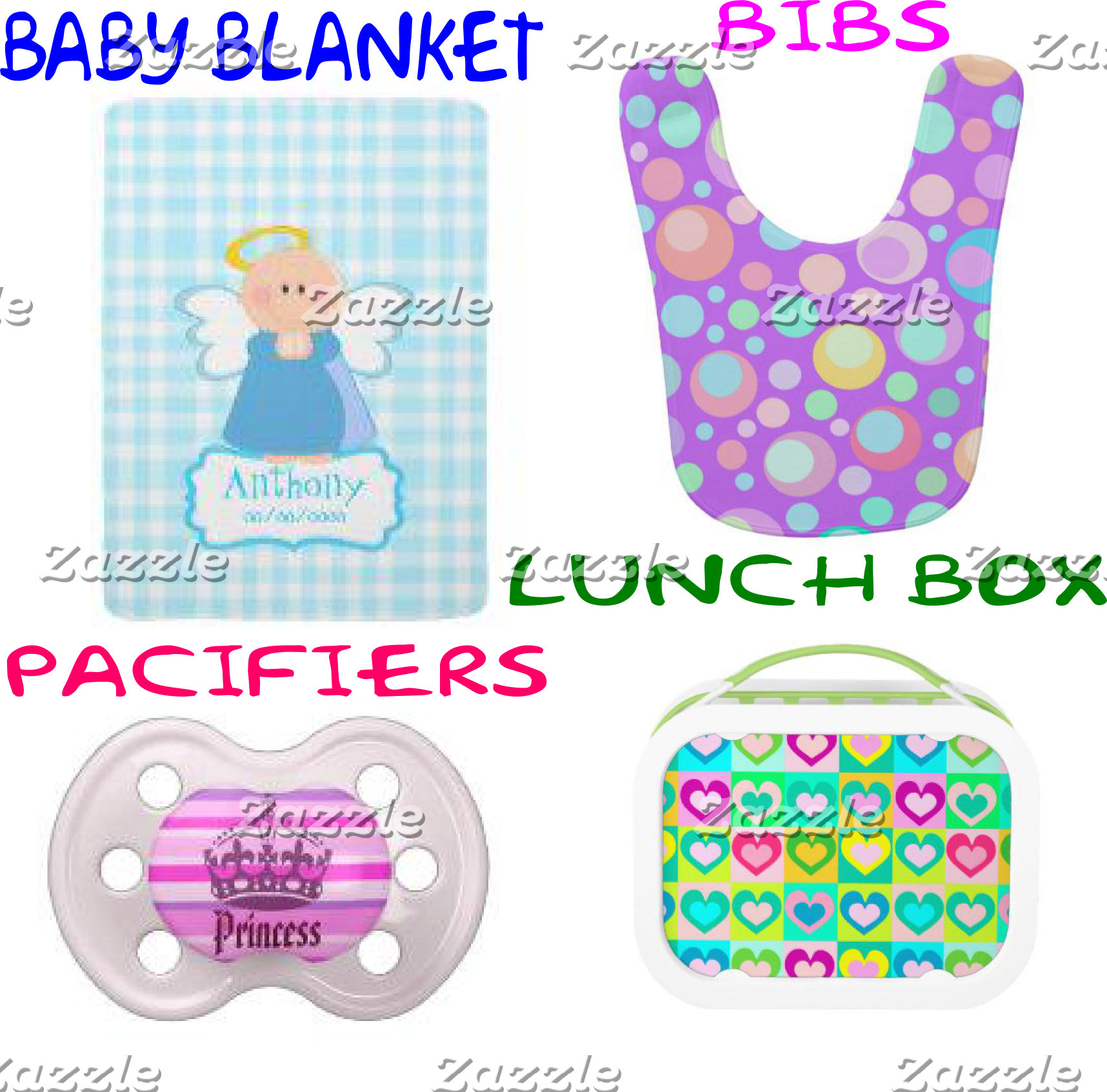 PACIFIER-LUNCHBOX-BIB-BLANKET-BABY BEANIE