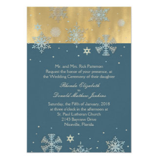 Cadet Blue and Gold Snowflakes Wedding Set
